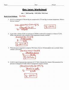 gas laws worksheet answer key