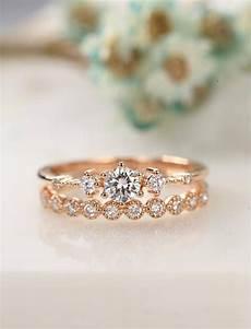 moissanite engagement ring rose gold vintage diamond