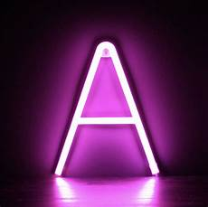 neon letter a pink smiling faces retail