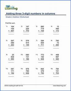 multiplication worksheets for grade 3 3 digit by 2 digit 4750 grade 2 math worksheets adding three 3 digit numbers in columns k5 learning