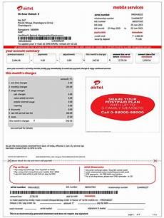 mobilebill airtel format invoice cheque