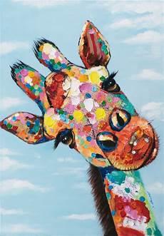 Tableau Girafe Pop 70x100 Peinture Acrylique
