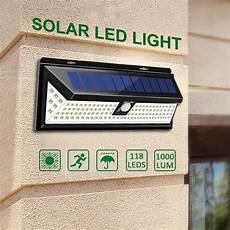 4 118 led solar l pir motion sensor wall light waterproof 1000lm high bright emergency