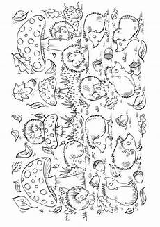 mushrooms and hedgehogs coloring page ř 205 zenn 201 činnosti