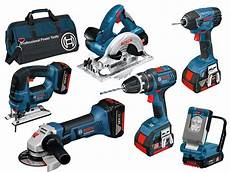 bosch 18v 6 cordless tool kit with 3 x 4 0ah in bag