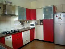 modular kitchen designs in simple red and white