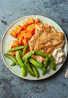 do the dukkah chicken with sweet potatoes and snap peas