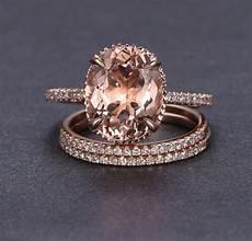 10x12mm oval cut morganite engagement wedding diamonds 3 ring 14k rose gold ebay