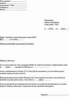 Resiliation Assurance Maladie Lettre Modele De Cv