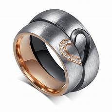 valentine s day cz couple ring forever love heart brushed titanium steel band ebay