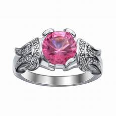 fashion silver plated jewelry new pink zircon engagement