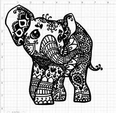Mandala Frau - mandala style baby elephant svg pdf eps dxf studio 3 cut