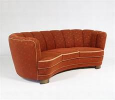 vintage deco curved sofa 1940s 72944