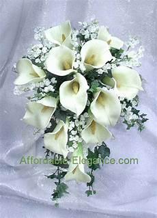 ivory cream or white bridal bouquet calla lilies silk