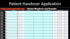 patient handover application excel vba youtube