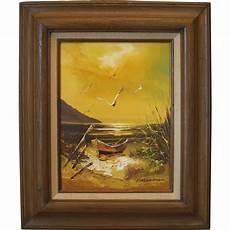 Karl Neumann Seascape On Canvas From Melange Orange On
