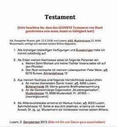 Testament Muster Vorlage Muster Und Vorlagen