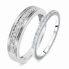 1 4 carat t w cut diamond his and hers wedding band
