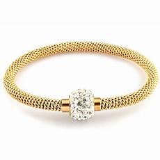 bracelet en or femme bracelet femme maille acier plaque or serti zirconium