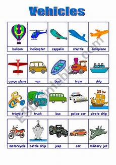 worksheets on vehicles 15217 vehicles 1 2 09 08 09 esl worksheet by manuelanunes3