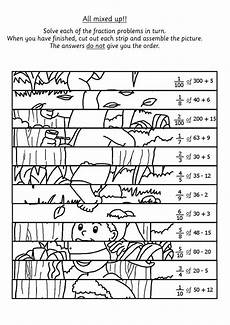 children solve the fraction calculations and then cut the picture into strips to rebuild the
