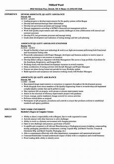 associate quality assurance resume sles velvet