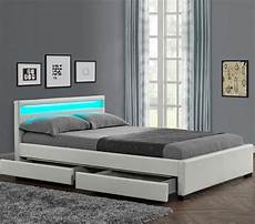 lit moderne blanc lit moderne 4 tiroirs simili blanc 224 led sona 160