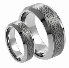 tungsten carbide wedding ring sets his s 8mm 6mm tungsten carbide celtic knot design