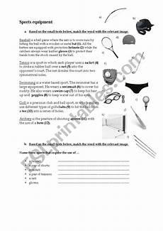 sports equipment worksheets 15781 sports equipment esl worksheet by ctayfe