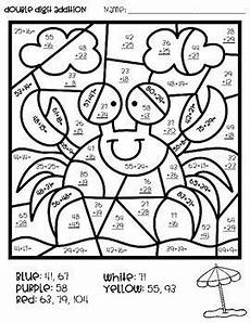 color by number addition and subtraction worksheets free 16290 color by number summer mystery pictures digit addition subtraction