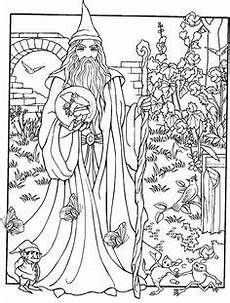 wizard coloring pages for adults wondrous wizards dover