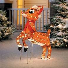 Lit Outdoor Decorations by Sale Outdoor Pre Lit Lighted Animated Rudolph Reindeer