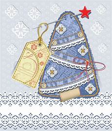 merry christmas card background in scrapbooking style denim tree with straight lace and