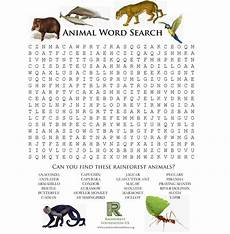 animal word search worksheets 14374 rainforest and worksheet activities save the rainforest rainforest foundation us