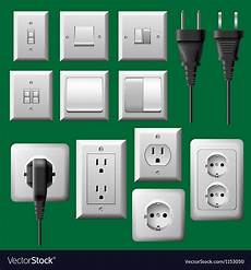 power outlet light switch and electrical plug vector image