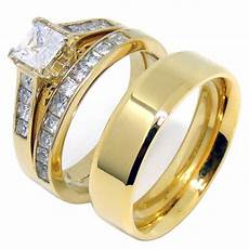 couples ring 14k gold plated 5mm princess cz wedding ring mens gol la ny jewelry