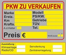 schild pkw zu verkaufen kfz auto permanent