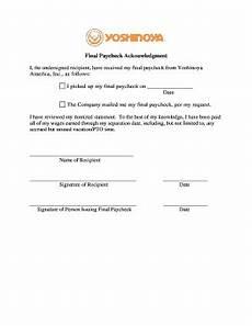 employee paycheck receipt acknowledgement fill