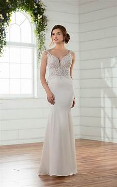 picture of wedding gown wedding dresses sleek column wedding gown with illusion