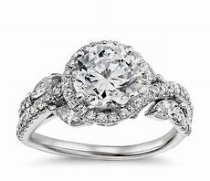 lhuillier floral halo diamond engagement ring in platinum blue nile