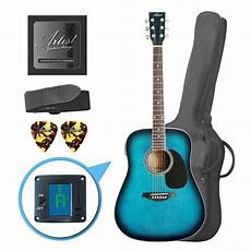 beginner acoustic guitars artist lsptbb beginner acoustic guitar pack blue