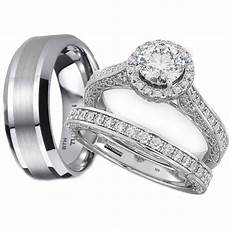 his n hers wedding rings his and hers tungsten 925 sterling silver wedding engagement ring set