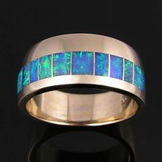 men s australian opal wedding ring in 14k gold the hileman collection