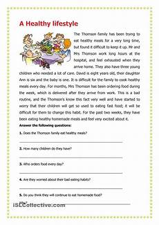 a healthy lifestyle with images reading comprehension worksheets reading worksheets