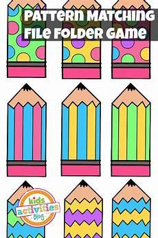 pattern matching free printable file folder game for preschoolers