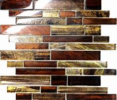 Glass Mosaic Kitchen Backsplash 10sf Golden Brown Metallic Linear Glass Mosaic Tile