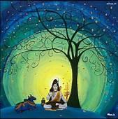 Lord Shiva With Nandi Art Background HD Mobile Wallpaper