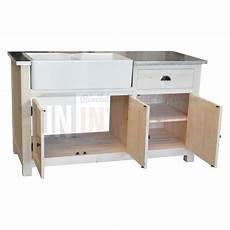 evier en bois massif meuble 233 vier 2 bacs timbre d office pin massif zinc