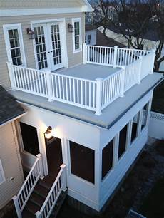 flat roof with railings and a screened in porch can we do this would be good for zombie