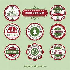 collection of merry christmas round sticker vector free download
